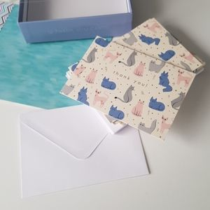 NEW 24 Pcs Thank You Cards & Envelopes with Cats
